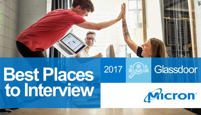 Co-workers smiling and high-fiving in a conference room with text saying: Best places to interview 2017 - Glassdoor - Micron