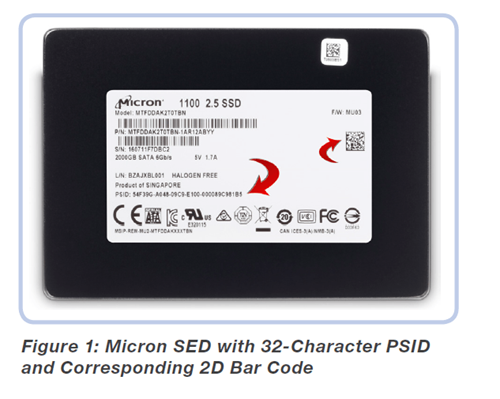 Micron SED with 32-Character PSID and Corresponding 2D Bar Code