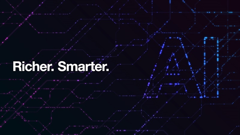 "Rendering that says, ""Richer. Smarter. AI"""
