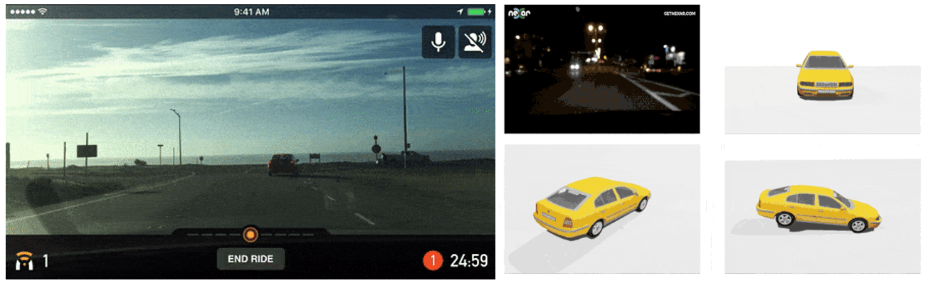 Dashcam footage of collision warning assistance and a rendering of accident reconstruction