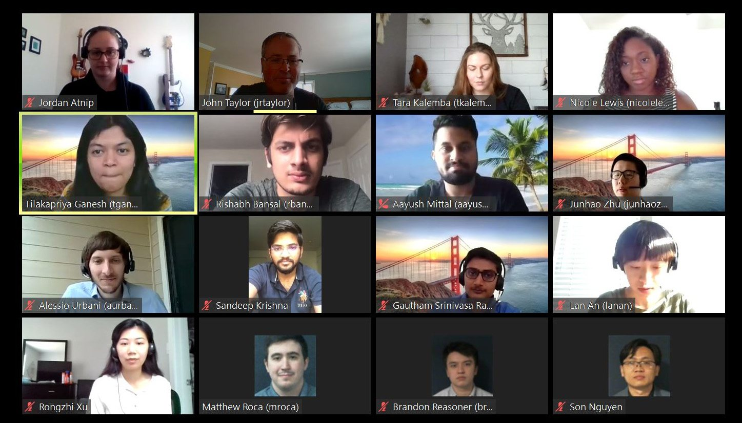 Screenshot of a Zoom meeting of 16 people