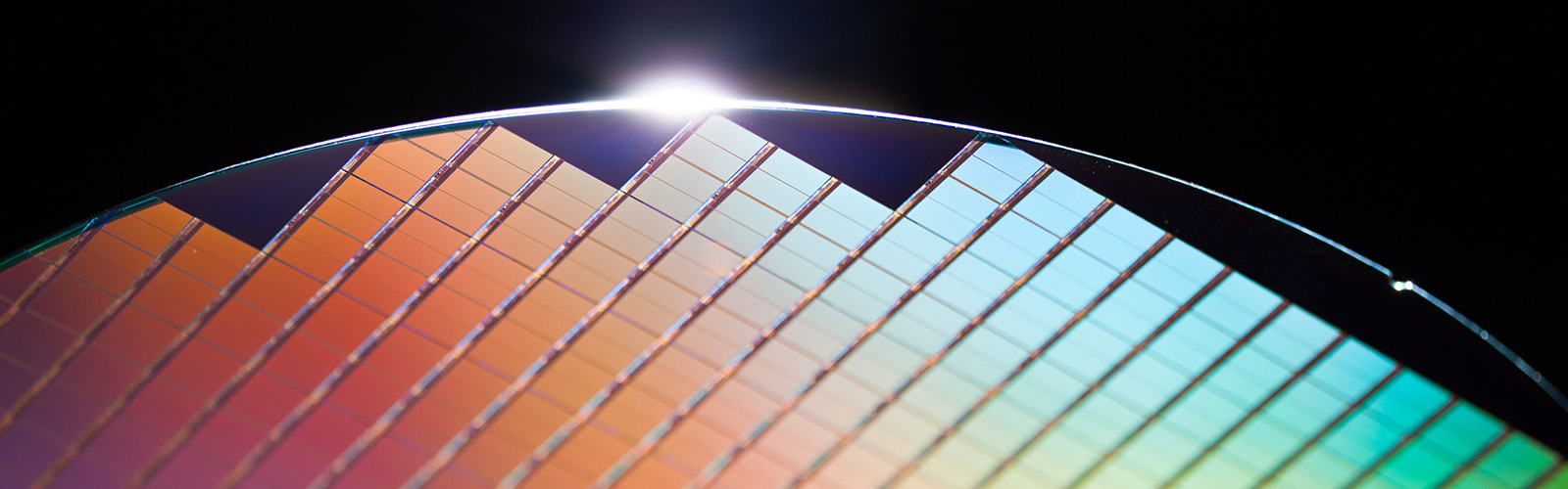 Abstract image of a multi-colored chip wafer