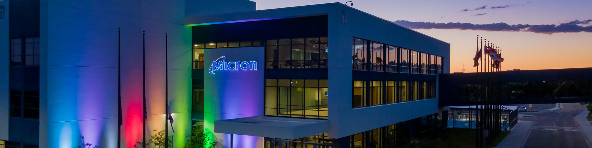 Micron's Boise campus lit up in celebration of Pride Month.