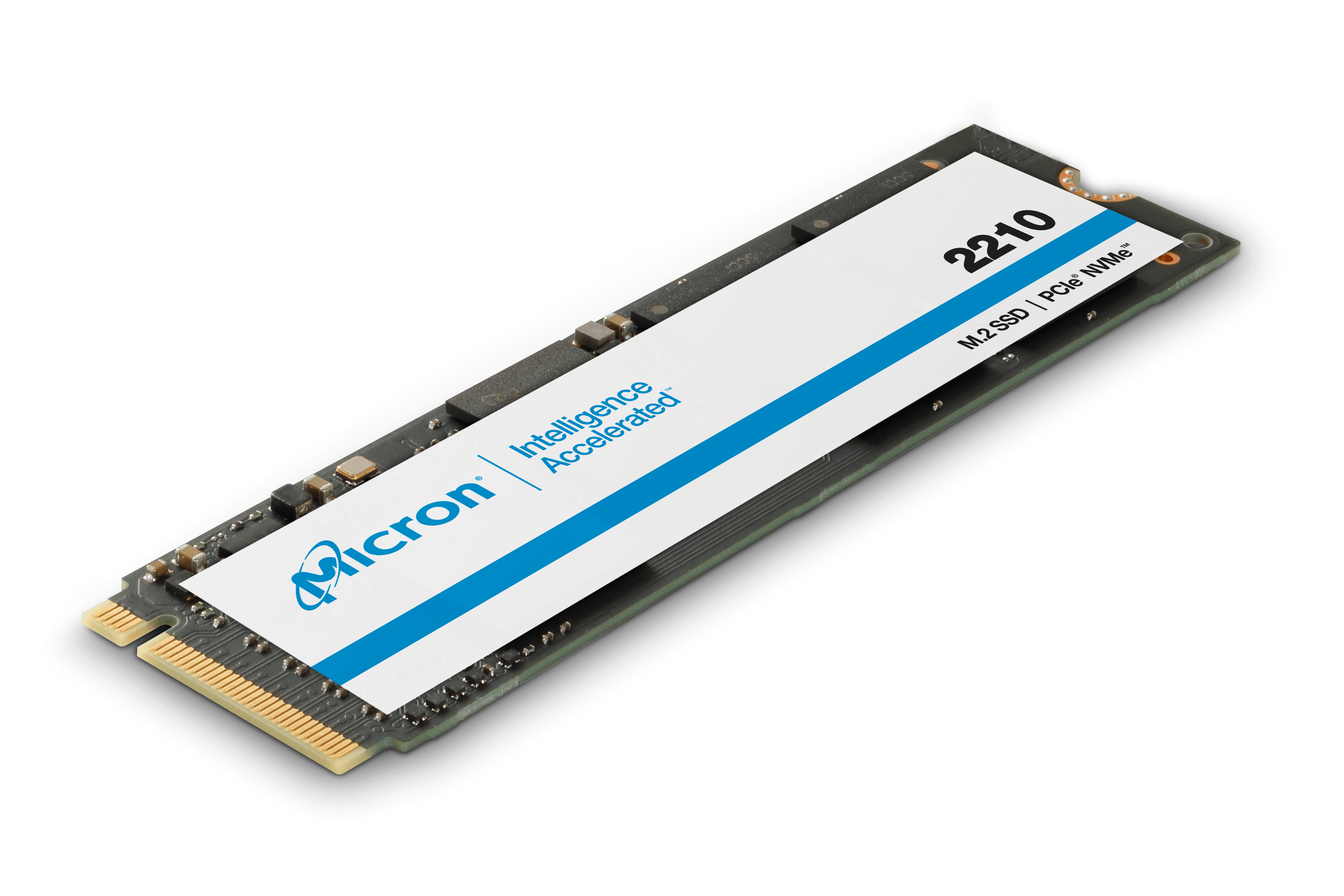 Isometric image of the Micron 2210 SSD with NVMe