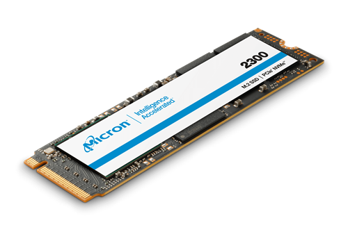 Isometric image of the Micron 2300 SSD with NVMe