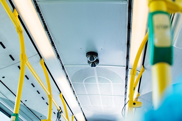 Surveillance camera on public transportation