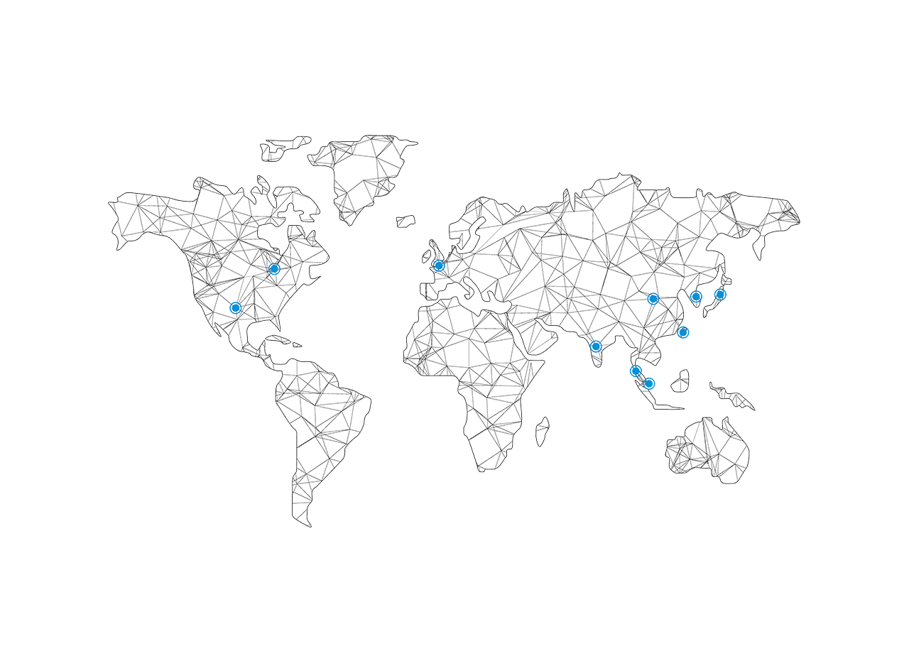 18 worldwide locations 13 manufacturing sites 13 customer labs on a world network map