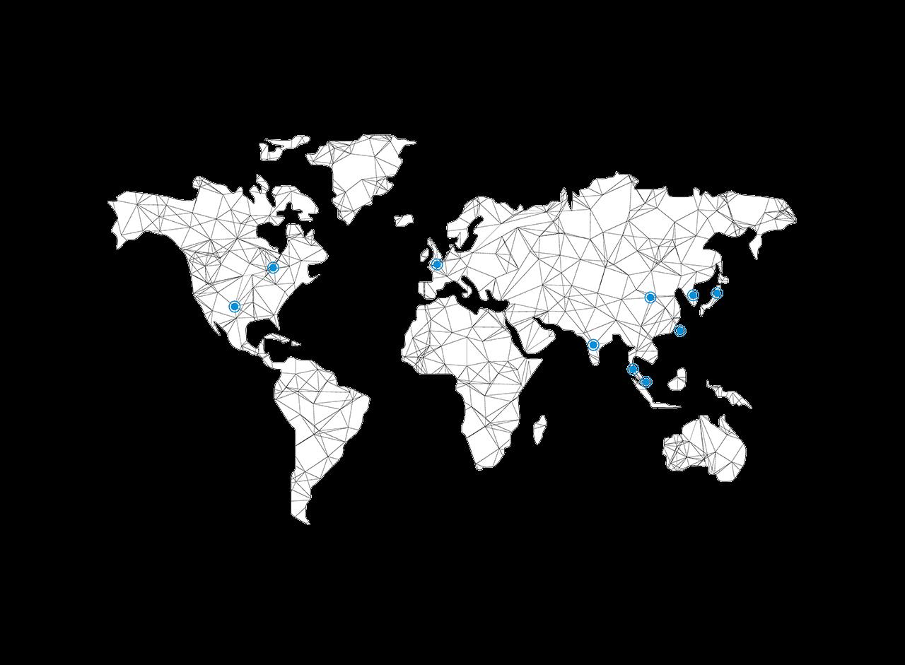 18 個全球據點 13 個生產製造基地 13 個 Customer Labs(客戶實驗室)標示於世界網路圖中