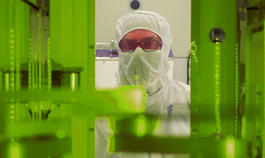 Man in a clean room